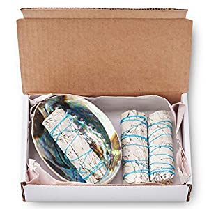 JL Local White Sage Smudge & Cleansing Kit Gift Box 9 Items - Abalone Shell, Feather, Instructions & More - Smudging, Healing & Stress Relief