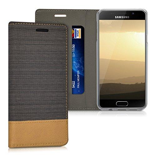 kwmobile Hülle kompatibel mit Samsung Galaxy A3 (2016) - Stoff Handy Schutzhülle - Flip Cover Case Dunkelbraun Braun