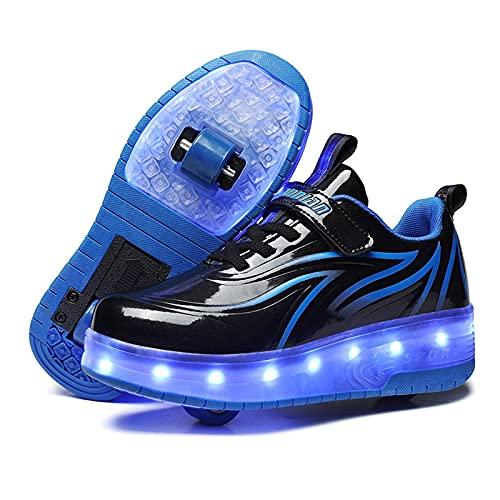 Zapatos con RuedasZapatillas con Dos Ruedas para niños y niña Led Luces Zapatillas con Ruedas Se Puede Bambas con Ruedas Automática de Skateboarding Black,EU34