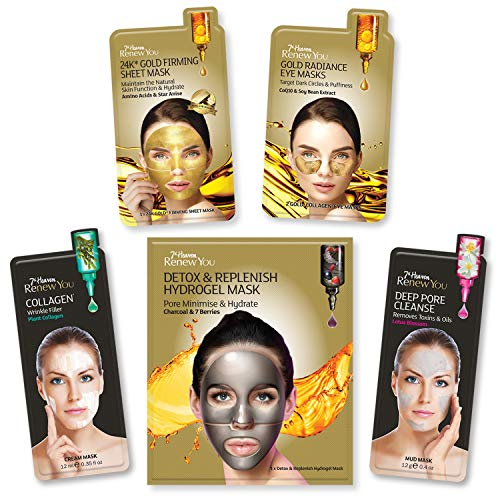 7th Heaven Renew You Radiant Beauty Skincare 5-Piece Bundle, with Gold Firming Sheet Mask, Gold Eye Masks, Wrinkle Filler Mask, Hydrogel Mask, Deep Pore Cleanse Mud Mask, for Replenished, Bright Skin