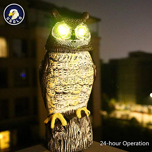 Ugold Solar Powered Owl, Motion Dectecting Sculpture with Glowing Eyes, Rotating Head and Sound, Decoration for Home and Garden