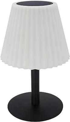 Lampe de table solaire 2 en 1 à planter ou à poser pied metal abat-jour ondulé LED blanc dimmable BOUFFANT H62cm
