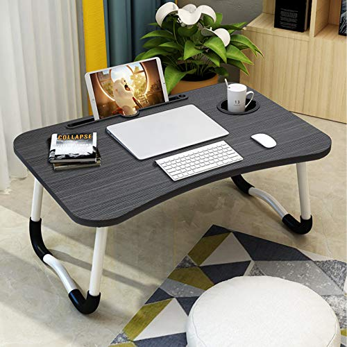 Laptop Desk for Bed,Villsure Portable Laptop Bed Tray Table Notebook Stand Reading Holder with Foldable Legs & Cup Holder for Eating,Writing,Reading Book, Watching Movie on Bed/Couch/Sofa