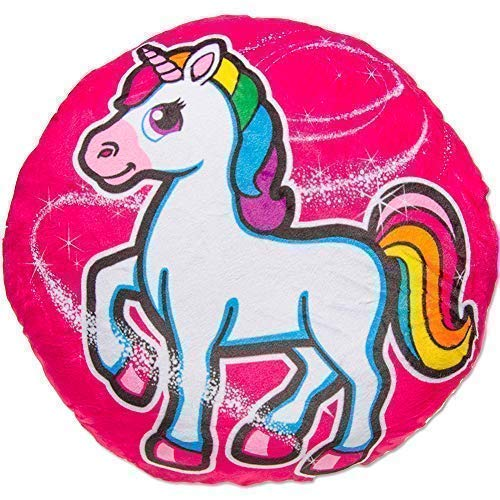 TE-Trend Magic Einhorn Regenbogen Unicorn Motiv Plüsch Kissen Zierkissen Kuschelkissen Kinder Mädchen rund 34cm Mehrfarbig pink Pferd