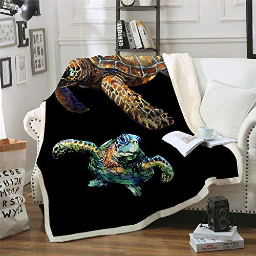 Xzfddn Turtles - Manta de sherpa para niños y adultos, de felpa suave, para sofá, color azul, verde y azul marino