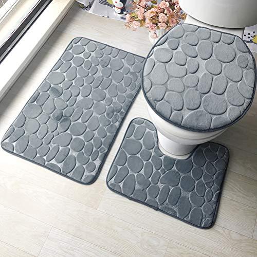 3 Stück rutschfeste Ständer Badematten Set atmungsaktivem Memory-Schaum Bad-Teppiche angenehm weiches Wasser saugfähig WC Badezimmer Teppich Rutschfest Ständer Unterstützung (3er Set Grau)
