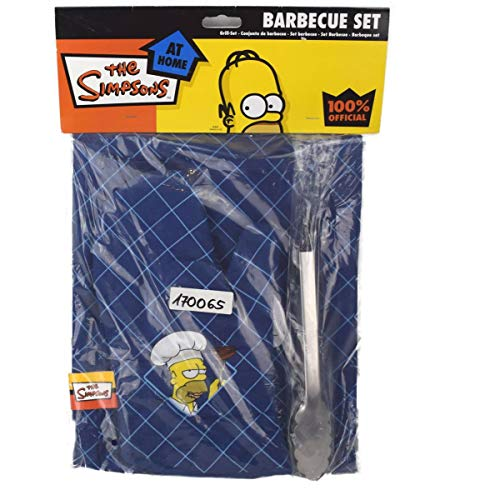 The Simpsons Simpsons 4teiliges Barbecue-Set Homer Simpson Groesse: 77 x 65 cm Farbe: blau Lieferumfang: Kochschürze, Grillzange, Geschirrtuch und Grillhandschuh