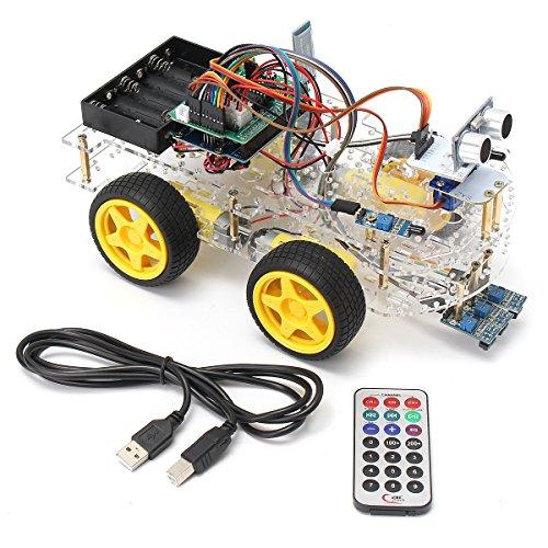 BouBou Kit De Iniciación para Automóvil con Robot Inteligente Programable 4Wd con Control Remoto para Arduino