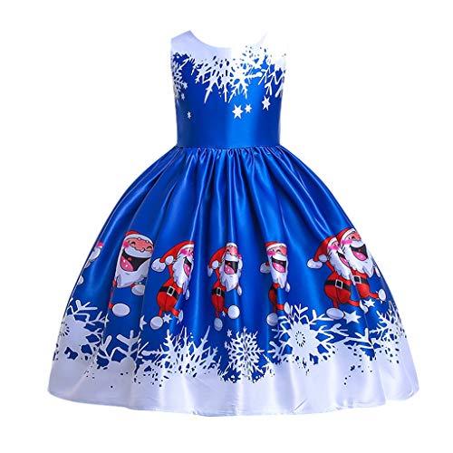 WEXCV Kleinkind Weihnachten Kleid Kinder Baby Mädchen Santa Print Prinzessin Kleid Weihnachten Schneemann Lace Print Prinzessin Kleid Dress Niedlich Kleidung 3-15 Jahre