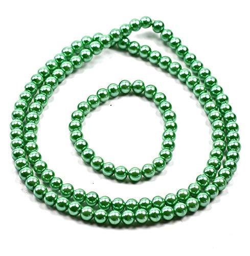Evil Wear Damen Perlen Ketten Halskette und Armband Schmuck Set 58cm grün