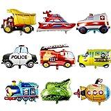 Haosell Pack de 9 globos con forma de coche para fiestas de niños, con temática de vehículos de construcción, fuego, coche de policía, vehículos, excavadoras, tren