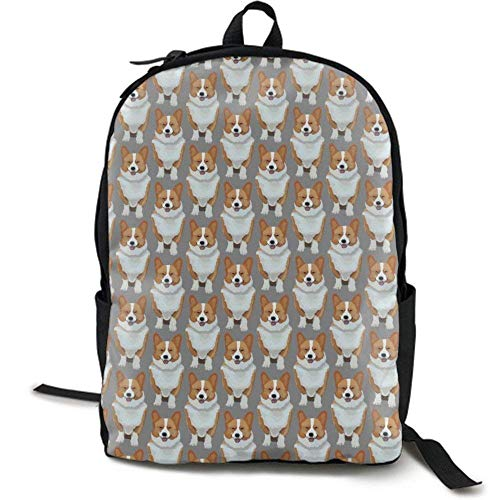 XCNGG Mochila de impresión de fotograma Completo para Adultos Mochila Informal Mochila Mochila Escolar Lightweight Durable Backpack Daypack for School Travel Hiking, Cute Corgis Puppy