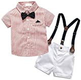 Baby Boys Dress Clothes, Toddlers Short Sleeves Button Down Dress Shirt with Bowtie + Suspender Shorts Set Summer Gentlemen Outfit, Red, Tag 110 = 2-3 Years