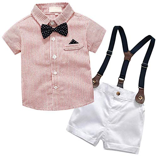 Baby Boys Dress Clothes, Toddlers Short Sleeves Button Down Dress Shirt with Bowtie + Suspender Shorts Set Summer Gentlemen Outfit, Red, 12-18 Months/Tag 90