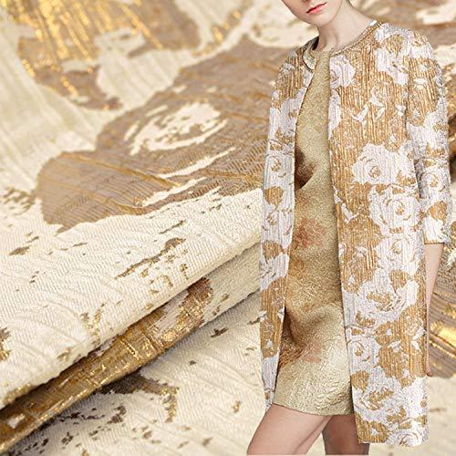 Tela jacquard con flores doradas y blancas, tela brocada, tela de estilo en relieve, tela cortavientos para boda por 1/2 yardas