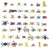 50 Figuras de Insectos Bichos de Plástico Juguetes para Niños| No Tóxico, Formas y Tamaños Realistas| Mariposa Arañas Hormigas Orugas Libélula, etc| Educativo Regalo Fiesta Cumpleaños Halloween.
