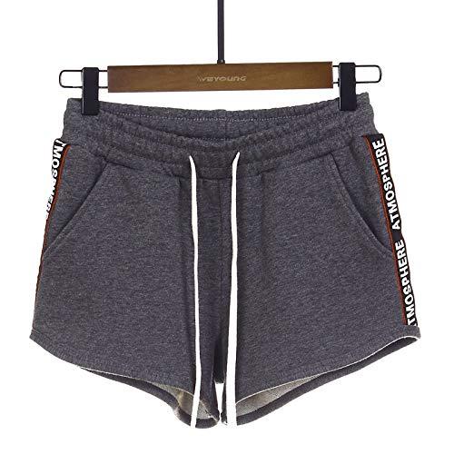 Pantalones Cortos para Mujer Moda de Primavera y Verano Pantalones Cortos Casuales con Estampado Lateral Pantalones Cortos Deportivos Sueltos con cordón de Cintura elástica S