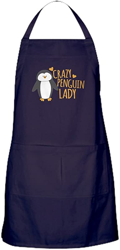 CafePress Crazy Penguin Lady Kitchen Apron With Pockets Grilling Apron Baking Apron