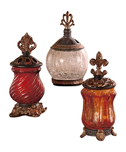 Set of 3 Elegant Tuscan Ornate Lids Crackled Glass Jars Decor