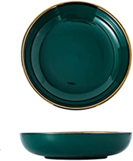 Dinner plate Green Ceramic Gold Inlay Plate Steak Food Plate Nordic Style Tableware Bowl Dessert Dish Dinner Dish Dinnerwa...