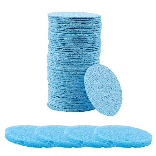 Esponjas faciales, 50 unidades de esponja facial de celulosa natural...