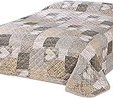 Delindo Lifestyle® Copriletto matrimoniale CUORE, per letti matrimoniali, patchwork marrone trapuntato, 240x260 cm