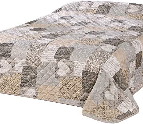Delindo Lifestyle® Tagesdecke Bettüberwurf Herzen für Doppelbett, Patchwork braun, 200x220 cm