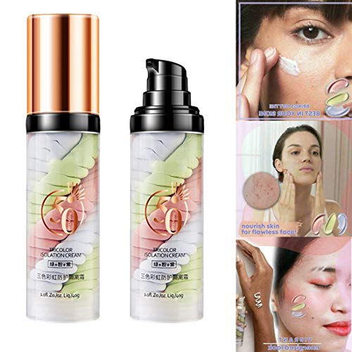 Rainbow Tricolor Makeup Base Foundation,One Step Tri-Color Isolation Cream for Full Coverage Brighten Skin Primer Long Lasting (1PCS)