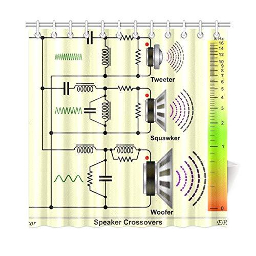 Zemivs Wohnkultur Bad Vorhang Lautsprecher Frequenzweichen Schaltplan Polyester Stoff Wasserdicht Duschvorhang Für Badezimmer, 72X72 Zoll Duschvorhang Haken Enthalten