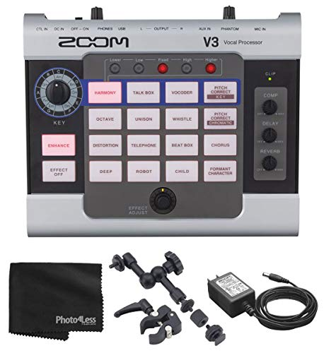 Zoom V3 Vocal Effects Processor Includes Zoom Clamp Mount + AC Adapter For Streaming and Recording