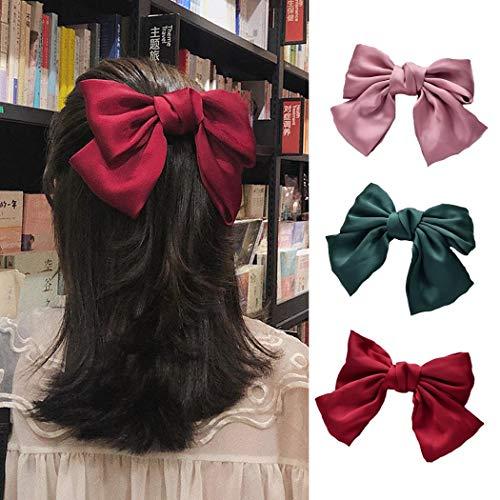 Genglass Fermagli per capelli con fiocco rosso Barrette per capelli rosa Accessori per capelli verdi per donna e ragazza Confezione da 2
