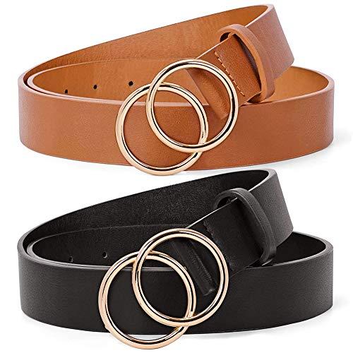BESTZY Cinturón De Jeans 2pcs Cinturón de Mujer Monocolor con Hebilla de Anillo Vintage Cinturón...