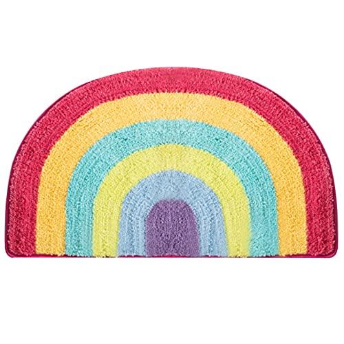 lefeindgdi Alfombra antideslizante de arco iris, media ronda, alfombra de baño antideslizante, suave y peluda, para sala de estar, dormitorio, baño, cocina, decoración del hogar
