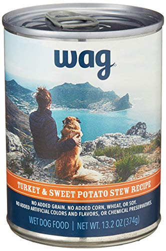 Amazon Brand - Wag Wet Canned Dog Food, Turkey & Sweet Potato Stew Recipe, 13.2 oz Can (Pack of 12)