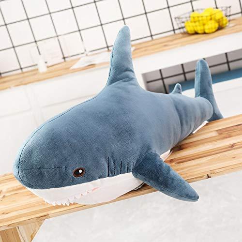 ASDFF Juguete de Gran tamaño, Animales de Peluche de tiburón, Almohada para Dormir Bonita, Juguetes Blandos, cojín de tiburón, Regalo de Peluche para niños, 100 cm Azul