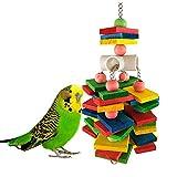 DX Oiseau Cage Jouet, Bloc en Bois Suspendu Moyen Et Grand Perroquet Molaire Corde À Mâcher Jouet Oiseau Cage Accessoires