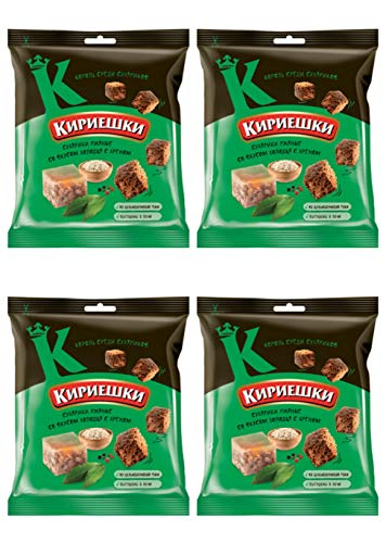 Kirieshki Rye Crackers Dry Bread Jelly with Horseradish Holodec s Hrenom 40g Pack of 4