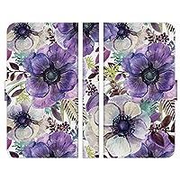 Ruuu AQUOS sense4 lite SH-RM15 手帳型 スマートフォン スマホ ケース カバー 水彩 アネモネ 花柄 ボタニカル パープル 紫 ホワイト 押し花風 おしゃれ かわいい