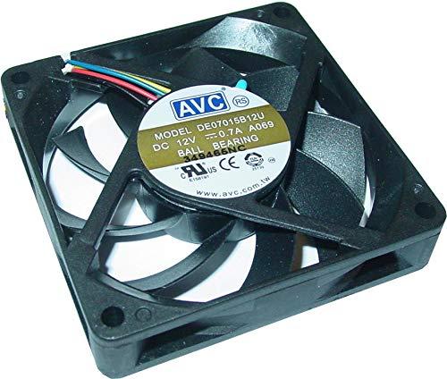 Unbekannt Ventilador para ordenador (12 V, 70 x 70 x 15 mm, ventilador de 7 cm, rodamiento de bolas, 4 pines, 700 mA, AS86)