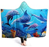 Sea Ocean World Dolphin Tropical Fishes Coral Swim Manta con Capucha para Hombre...