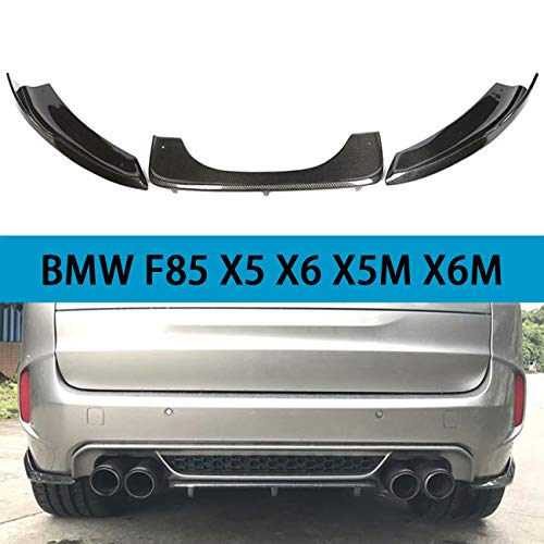 QCHCHUN Adatto per BMW F15 F85 X5 F86 X6 X5M X6M M Sport SUV 4 Porte 2014-2018 Diffusore Posteriore Auto Labbro in Fibra di Carbonio Nero CF Spoiler paraurti Posteriore Inferiore