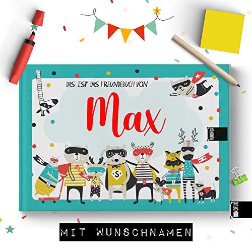 Großes Freundebuch für Jungs mit Superhelden & Tieren | Personalisiert mit Wunschnamen - Jedes Buch EIN Unikat (Schule und Kindergarten)
