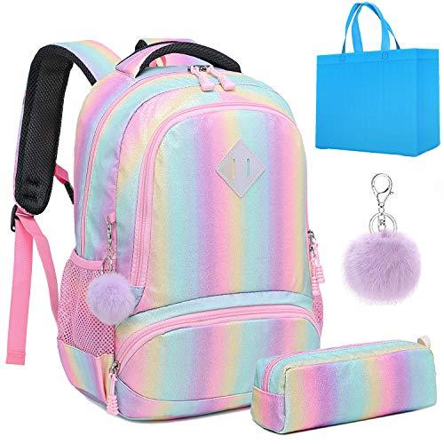 Teen Girls Backpack Glitter Rainbow School Bag Shiny School Backpack for Kids 2 in 1 Casual Daypack (Rainbow Glitter)