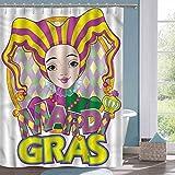 Vintage Duschvorhang Karneval Karneval Mädchen in Hut Stoff Duschvorhang