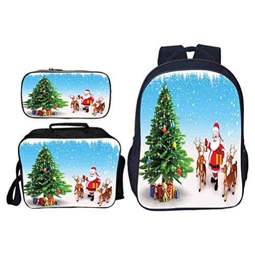 Casual and Comfortable Backpack, Santa Reindeer with Jingle Bells Gather Around Father Christmas Festive Tree with Presents, School Bag for Daily Use and Outdoor Activities, Set 3 Pieces