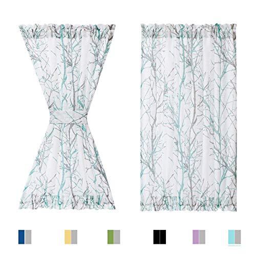 """Fmfunctex Semi-Sheer French Door Curtain for Front Door Back Door Nursery Aqua-Blue and White Branch Print Door Curtain with Matching Tiebacks, 50"""" W x 72"""" L 1pc"""