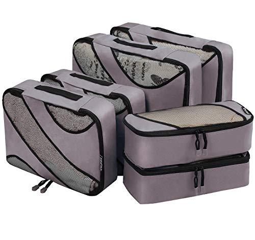 Bagail 6 Set Packing Cubes,3 Various Sizes Travel Luggage Packing Organizers(Dark Grey)