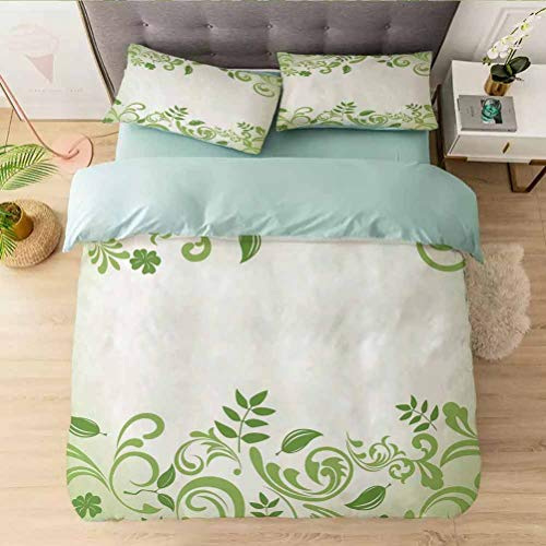 Bedding Comforter Cover Set Queen, Victorian Garden Theme Frame Abstract Curls Floral Vintag, 1 Duvet Cover with 2 Pillowcases-Hypoallergenic, Easy Care, Soft and Durable