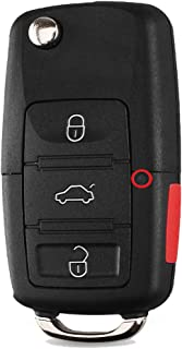 Heart Horse Keyless Remote Key Fob Case for VW Volkswagen Jetta Passat Golf Beetle Rabbit GTI CC EOS,with Blade, No Chips (Replace HLO1J0959753AM 1J0959753DC)