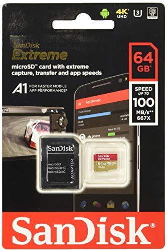 Tarjeta de memoria SanDisk Extreme 64 GB microSDXC para Smartphone, tabletas y cámaras MIL + adaptador SD, velocidad de lectura hasta 100 MB/s, Clase 10, U3, V30 y A2